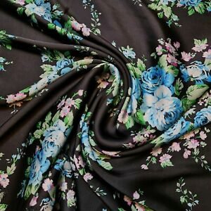 """Black Roses Soft Floral Print Satin Dress Craft Fabric By The Meter 58"""""""