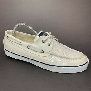 Sperry Women's Bahama Boat Shoes Size 9.5 M Ivory White Sequins Moc 9447160
