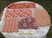 Collection Of 5 Turkey Red Printed Paisley Cotton Fabrics~Quilters, Study