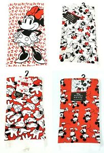 NEW SET OF 2 DISNEY MICKY & MINNI MOUSE RED,WHITE,BLACK COTTON KITCHEN TOWELS