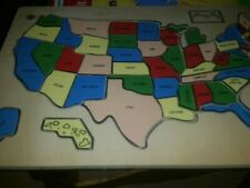 Vintage Wooden Puzzle Map United States America.             A5/FR