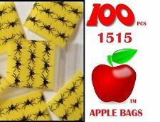 100 pcs Apple Bags Ziplock zip lock baggies small Spider Design 1515 38mm x 38mm