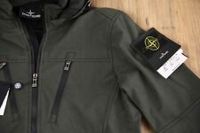 STONE ISLAND Jacket Coat Soft Shell New Mens Green Size L Large Zip Hood Genuine