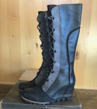 SOREL CATE THE GREAT WEDGE 8.5 Tall BLACK Women Boots Waterproof  SALE RARE