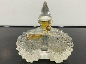 Vintage Fancy Cut Art Glass Perfume Bottle