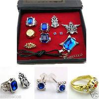 9pcs Black Butler Ciel Sebastian ring necklace earring studs Jewelry set