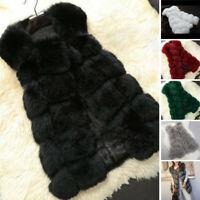 Womens Winter Warm Faux Fur Waistcoat Vest Sleeveless Jacket Coat Outwear Tops