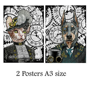 Steampunk Sphynx and Doberman Posters