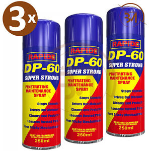 3 x 250ml DP-60 Penetrating Releasing Cleaning Maintenance Spray DP60 Lubricants