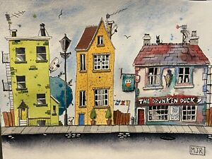 Original Hand Painted Watercolour Painting 'the Drunken Duck' Quirky,and Fun.
