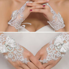Womens White Sheer Floral Bow Gloves Wrist Wedding Lady Costume Opera Party Prom