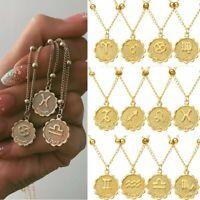 12 Constellation Symbol Zodiac Coin Pendant Necklace Women Choker Clavicle Chain