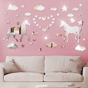 31 Pieces Unicorn Mirror Wall Stickers 3D Hearts Clouds Stars Acrylic Mirrors De
