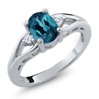 1.38 Ct Oval London Blue Topaz White Created Sapphire 925 Sterling Silver Ring