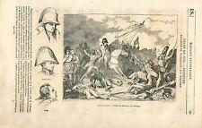 Bataille de Waterloo Napoléon Cambronne baron de Steuben GRAVURE OLD PRINT 1835
