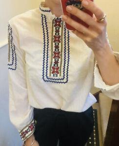 Vintage Embroidered Blouse Folk Cotton Blend One Off 10-12