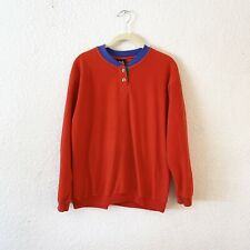 Vintage Lee Long Sleeve Felt T Shirt Womens Red Henley Top 80s Medium M