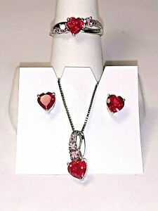 LAB CREATED RUBY, PINK SAPPHIRE & DIAMOND ACCENTS-- RING-7- PENDANT, & EARRINGS