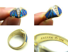 100% Authentic Kabana 1/4ct Diamond Opal Inlay 14k Solid Yellow Gold Ring Size 6