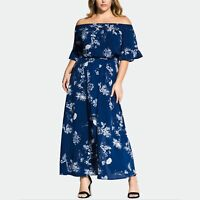 City Chic Womens Dress Maxi Off the Shoulder Bell Short Sleeve Blue 24W New