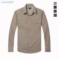 Men's Military Shirts Long Sleeve Work Shirts Outdoor Hiking Fishing Cargo Tops