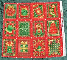 Small Christmas fabric panels for cardmaking, labels, Christmas sewing