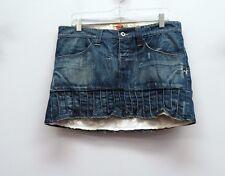 YEN JEANS MICHIKO KOSHINO Size 42 Denim Pleated Hem Mini Jean Skirt