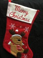 Christmas stocking, Red, Reindeer 40cm