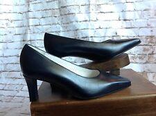 Valleverde Black Leather Chunky Pump Heels Sz EU 34 US 4 Italy Flamenco Shoes
