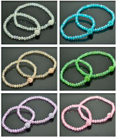 4MM FACETED CUT GLASS BEAD WITH 8MM CRYSTAL BEAD STRETCH BRACELET-KIDS/ADULT SET