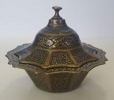 "New Dome Metal Artisan Turkish Sugar Bowl w/ Top - Rustic Gold Color 5""x5""x4"""