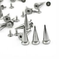 20 Silver Cone Spikes Screwback Studs 25mm Leather Craft DIY Goth Punk Rock Spot