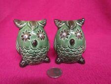 Vintage Green Google Eye Owl Salt and Pepper Shakers Ceramic 76