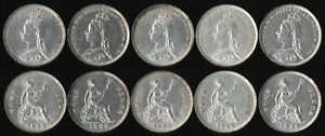 FIVE(5) BRITISH 1888 FOUR PENCE (AU & UNC BEAUTIES) SEE PICTURES > NO RESERVE