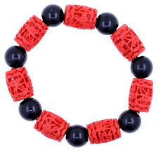 Red Lacquer Fortune and black bead stretch bracelet