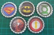 5 x Super Hero Symbol Inspired Flattened Bottle Caps - Great for Magnets, Bows