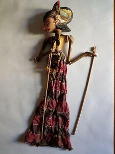 "Vintage Asian/Oriental Large Marionette Stick Puppet 26"""