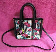 Luv Betsey Johnson White Black Stripes Floral Rose Handbag Crossbody Purse