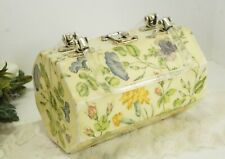 1950's Wood Purse With Lucite Handles, Octagon Shaped,Beautiful Floral Decoupage