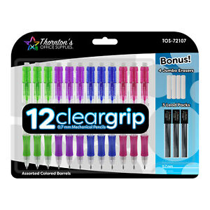 Thornton's ClearGrip Mechanical Pencil Starter Set, 0.7mm, Assorted, Pack of 12