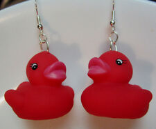 NORA WINN UNIQUE COSTUME EARRINGS RED DUCK RUBBER DUCKIES VALINTINES DAY GIFT