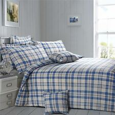 Check Plaid Blue Cream Brown King Size Cotton Blend Duvet Comforter Cover