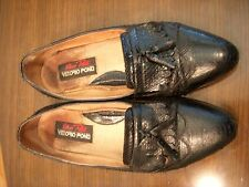 "MEN'S 8 1/2"" SNAKE SKIN TASSLE  LOAFERS BLACK"