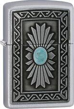 Zippo 2016 Catalog NEW South Western Sun Emblem Attached Satin Chrome 29105