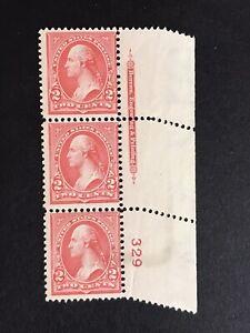 GandG US Stamps #279B Washington 2c P# Strip EFO Pre Perf Paper Fold MNH OG