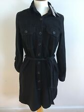 BNWT NEW LOOK BLACK 100% COTTON COLLARED/2-POCKET SHIRT DRESS UK 12 RRP £25.99