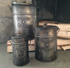 """Primitive Country Rustic """" COUNTRY LIVING """" Metal Canisters With Lids/ Set Of 3"""