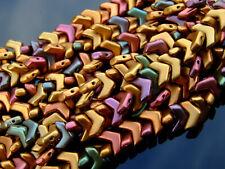 30x Czech Chevron Duo Beads 10x4mm Matte Metallic Bronze Iris Violet Rainbow