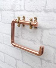 COPPER PIPE SWIVEL TOILET ROLL HOLDER - VINTAGE INDUSTRIAL ROSE GOLD