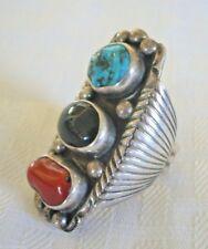 Huge Signed Vintage NAVAJO Sterling Silver TURQUOISE CORAL Ring, size 10, 21.2g
